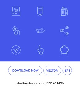 Modern, simple vector icon set on blue background with replace, estate, business, communication, summer, message, substitute, check, receipt, presentation, money, supermarket, sky, finger, share icons