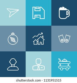 Modern, simple vector icon set on colorful blue backgrounds with compass, profile, employee, send, diskette, mail, sea, summer, disk, underwater, increase, room, espresso, email, cafe, east, mug icons