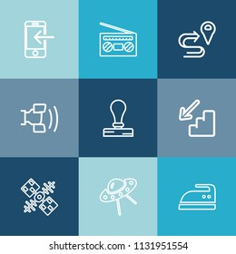 Modern, simple vector icon set on colorful blue backgrounds with map, cell, downstairs, ironing, location, spacecraft, road, housework, technology, money, player, volume, banking, phone, up, ufo icons