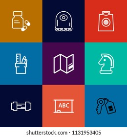 Modern, simple vector icon set on colorful flat backgrounds with strategy, drug, fitness, medicine, vitamin, sport, workout, stationery, monster, pharmacy, pill, chalkboard, medication, retail icons