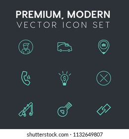Modern, simple vector icon set on dark grey background with person, mobile, people, string, business, work, casual, phone, male, map, sport, technology, vehicle, fish, close, telephone, fishing icons