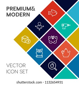 Modern, simple vector icon set on colorful flat background with direction, bird, package, food, hand, road, kitchen, drink, construction, insect, nature, power, fresh, location, map, fishing icons