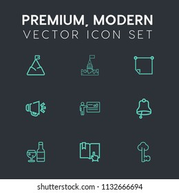 Modern, simple vector icon set on dark grey background with alarm, old, office, key, vintage, landscape, note, tower, architecture, business, top, book, presentation, sky, building, metal, bell icons