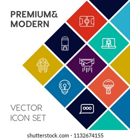 Modern, simple vector icon set on colorful flat background with field, light, ancient, stadium, communication, business, technology, goal, luxury, call, video, football, egypt, bed, bulb, online icons