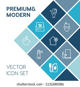 Modern, simple vector icon set on blue colorful background with ceramic, lighthouse, gas, investment, sea, object, pot, decoration, receipt, home, light, hygiene, fuel, list, supermarket, shop icons