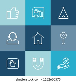 Modern Simple Vector Icon Set On Colorful Blue Backgrounds With Home Travel Dollar