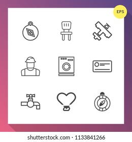 Modern, simple vector icon set on gradient background with north, appliance, air, aircraft, room, interior, east, water, cheque, transport, transportation, worker, direction, armchair, washer icons