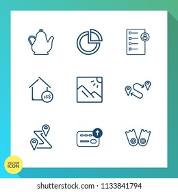 Modern, simple vector icon set on gradient background with human, location, document, road, navigation, summer, tea, photography, real, price, checklist, coffee, chart, map, travel, scenery, sea icons