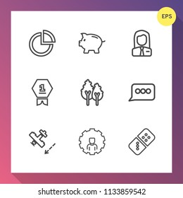 Modern, simple vector icon set on gradient background with plane, white, aircraft, play, graphic, travel, coin, money, nature, graph, tree, environment, banking, chart, bank, internet, mobile icons