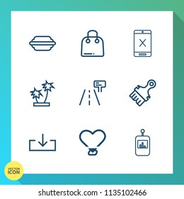 Modern, simple vector icon set on gradient background with cord, subscription, stop, cable, tomato, retail, traffic, web, love, nature, meal, remote, buy, gift, fashion, connection, lettuce, bun icons