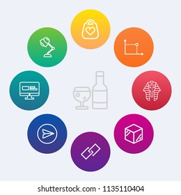 Modern, simple vector icon set on colorful circle backgrounds with object, electric, hyperlink, style, email, egyptian, link, culture, communication, product, white, bottle, package, beverage icons