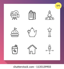 Modern, simple vector icon set on gradient background with kettle, video, direction, tea, equipment, glass, office, summer, shuttle, tripod, juice, building, launch, drink, movie, sandwich, hot icons