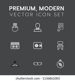 Modern, simple vector icon set on dark grey background with clothing, people, man, compass, east, equipment, audio, sunglasses, technology, glasses, room, comfortable, cash, lab, stereo, profile icons