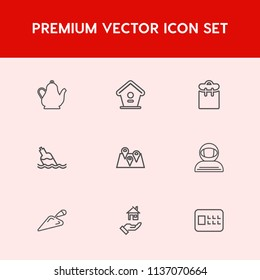 Modern, simple vector icon set on red background with person, coffee, branch, pretty, box, hot, bottle, people, travel, equipment, road, professional, kettle, house, clean, kitchen, teapot, wood icons