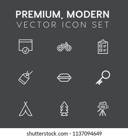 Modern, simple vector icon set on dark grey background with transportation, travel, sign, approve, sport, tick, camera, wheel, nature, mark, adventure, outdoor, environment, house, hamburger icons