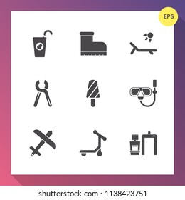 Modern, simple vector icon set on gradient background with repair, fashion, style, tool, reparation, organic, water, orange, sunny, vacation, machine, sweet, flight, service, xray, foot, mask icons