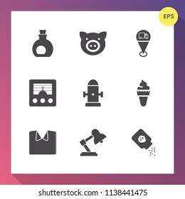 Modern, simple vector icon set on gradient background with wireless, green, farming, radio, fashion, new, shirt, clothing, baby, ice, white, ingredient, pork, sign, dessert, food, map, hog, oil icons