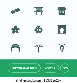 Modern, simple vector icon set on white background with umbrella, gate, health, worker, light, japan, medicine, cherry, blossom, flower, pill, child, baby, bulb, energy, travel, drug, home, work icons