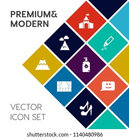 Modern, simple vector icon set on colorful flat background with tool, smile, mountain, chat, entertainment, crater, volcano, panorama, business, equipment, school, female, lava, tower, blue, fun icons