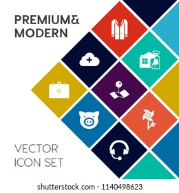 Modern, simple vector icon set on colorful flat background with house, cleaner, map, technology, floral, farming, equipment, outfit, spring, pointer, health, medical, housework, hog, young, coat icons