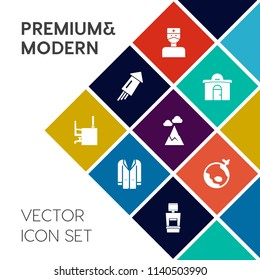 Modern, simple vector icon set on colorful flat background with fire, event, xray, new, fashion, hospital, sky, plane, machine, nature, business, coat, health, celebration, estate, work, holiday icons