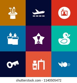 Modern, simple vector icon set on colorful flat backgrounds with tv, departure, candle, xray, decoration, winner, fire, wand, entertainment, flame, machine, video, airport, hat, place, airplane icons