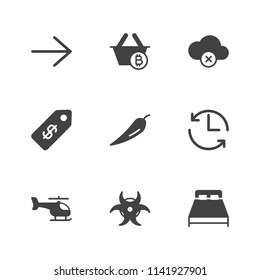 Modern Simple Vector icon set. Contains Icons  interior,  aviation, right, copter,  money,  banking, radiation, bedroom,  food, cloud,  shop,  dollar,  room,  next, hot, bitcoin,  time,  update, sale