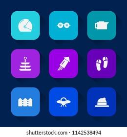 Modern, simple vector icon set on colorful long shadow backgrounds with brown, footwear, glasses, ufo, boho, vintage, dinner, food, bike, motor, espresso, alien, spaceship, hippie, beverage icons.
