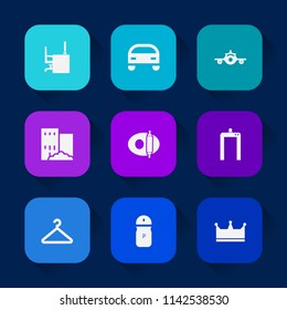 Modern, simple vector icon set on colorful long shadow backgrounds with kitchen, plane, aircraft, transport, automobile, car, airplane, top, crown, white, travel, automotive, machine, food, pan icons.