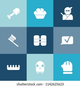 Modern, simple vector icon set on colorful blue backgrounds with hammer, comb, equipment, cake, japan, care, space, brush, scarf, dessert, fiction, chocolate, communication, clean, samurai, ufo icons