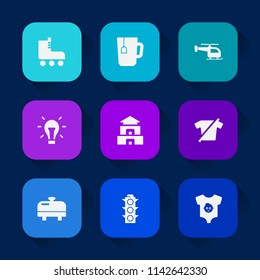 Modern, simple vector icon set on colorful long shadow backgrounds with energy, child, cup, baby, temple, roller, clothes, culture, idea, helicopter, electricity, cafe, light, equipment, boot icons.