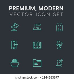 Modern, simple vector icon set on dark grey background with decoration, fear, food, summer, education, paper, palm, scary, folder, halloween, housework, soup, iron, technology, tropical, horror icons