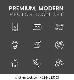 Modern, simple vector icon set on dark grey background with cable, subscription, airplane, cancel, satellite, coaxial, spaceship, message, connection, bikini, aircraft, man, tv, house, building icons