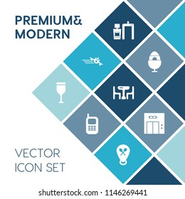 Modern, simple vector icon set on blue colorful background with telephone, restaurant, modern, phone, transportation, food, airplane, flight, decoration, xray, plane, machine, communication, old icons