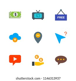 Modern Simple Vector icon set. Contains Icons  label, audio,  cast,  speech, location,  screen,  dollar,  upload,  television,  message,  success,  media,  technology,  web, cash,  earn,  business