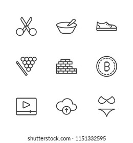 Modern Simple Vector icon set. Contains Icons  web,  vacation, cloud,  sport, wall,  scissor,  concrete, bitcoin,  play, cut, summer,  meal,  food,  cue,  technology,  trade, breakfast,  silhouette