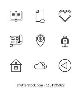 Modern Simple Vector icon set. Contains Icons  computer,  cloud, book,  internet,  business,  web,  page, droid,  home,  previous,  house,  weather,  network,  circular,  read,  bank,  next,  white