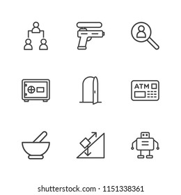 Modern Simple Vector icon set. Contains Icons  force,  medicine,  finance, employment,  hiring,  cyborg, droid,  technology,  physics,  structure,  room,  organization, ,  doorway, hierarchy,  chart