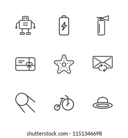 Modern Simple Vector icon set. Contains Icons  cell,  retro,  safety,  robot,  object,  circus,  discount, space,  update,  equipment,  extinguisher, starfish, droid,  bike,  energy, fire, reload