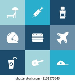 Modern, simple vector icon set on colorful blue backgrounds with beach, aircraft, drink, fruit, music, flight, summer, healthy, xray, motorcycle, holiday, drill, headwear, airplane, chair, biker icons