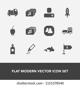 Modern, simple vector icon set with van, rocket, location, group, charge, vehicle, bottle, white, cable, power, sea, transportation, battery, technology, social, food, seafood, drink, fish, file icons