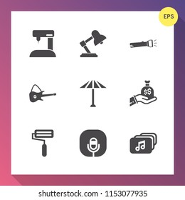 Modern, simple vector icon set on gradient background with file, wagasa, concert, music, light, bag, flashlight, equipment, sewing, sew, asian, business, musical, bulb, rock, industry, japan icons