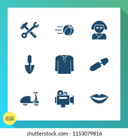 Modern, simple vector icon set on gradient background with ride, japan, goal, brush, kick, hammer, spanner, culture, bike, wrench, bicycle, clothing, tool, cycle, makeup, game, flying, video icons