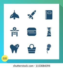 Modern, simple vector icon set on gradient background with lighthouse, bulb, ocean, sandwich, sea, power, japanese, light, food, fashion, karaoke, electricity, healthy, bag, dental, cheeseburger icons