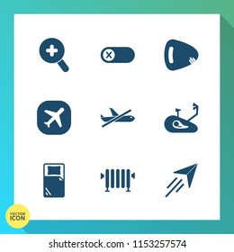 Modern, simple vector icon set on gradient background with mountain, heater, wheel, deactivate, web, home, view, switch, aircraft, search, sound, travel, no, off, bike, string, control, sign icons
