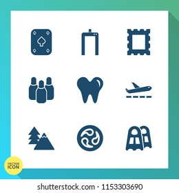 Modern, simple vector icon set on gradient background with play, border, sea, tree, travel, black, water, machine, healthy, medical, casino, health, xray, blank, picture, art, diagnostic, frame icons