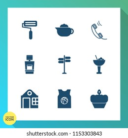 Modern, simple vector icon set on gradient background with tool, glass, drink, medical, internet, phone, teapot, dessert, alcohol, breakfast, estate, house, tea, paint, cocktail, telephone, scan icons