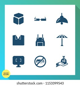 Modern, simple vector icon set on gradient background with white, bulb, modern, conditioner, element, finance, square, sack, air, bag, chef, technology, apron, wagasa, clothes, clothing, new icons