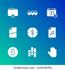 Modern Simple Vector icon set. Contains Icons  double,  file, bitcoin, food,  virtual,  diagram,  pointer, music,  click,  breakfast,  information,  cursor,  trade,  time,  white,  yellow,  money