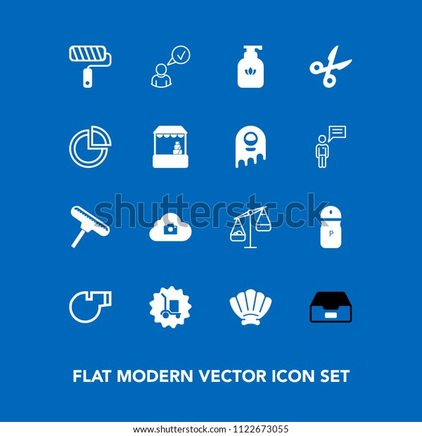 Modern, simple vector icon set on blue background with internet, scale, roll, hygiene, spice, pepper, brush, roller, soap, salt, file, cargo, measurement, folder, food, nature, warehouse, marine icons